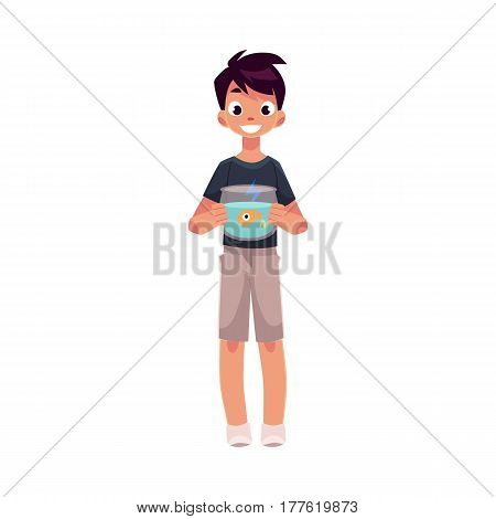 Teen, teenage boy, child, kid holding little aquarium with goldfish, golden fish, cartoon vector illustration isolated on white background. Full length portrait of boy holding fish bowl, aquarium