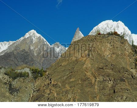 Ladyfinger Peak, Bublimotin, Bubli Motin Or Bublimating, A Rock Spire At Hunza Valley, Karakoram Range, Pakistan