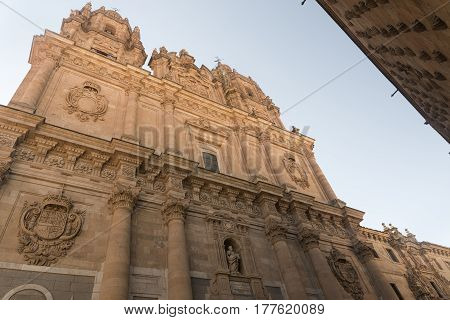 Salamanca (Castilla y Leon Spain): the historic church of La Clerecia facade