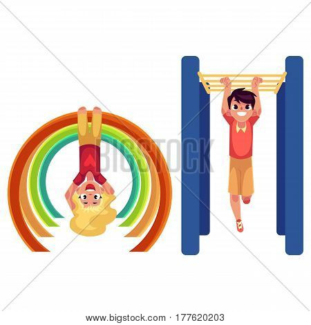 Teenage boy and girl climbing, hanging on monkey bars at playground, cartoon vector illustration isolated on white background. Kids, boy and girl hanging on monkey bars, having fun at playground