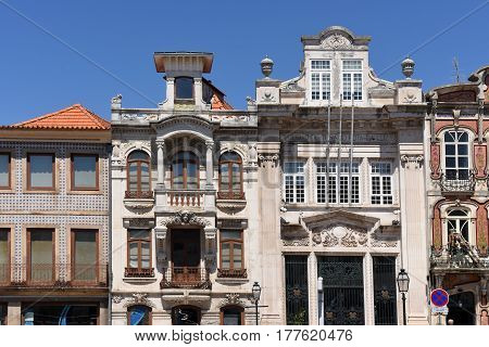Architecture in Aveiro Beiras region Portugal on a sunny day