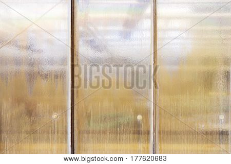 Old Grungy Structural Glass Window For Backgrounds