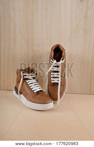 Fashion shoes on wooden background