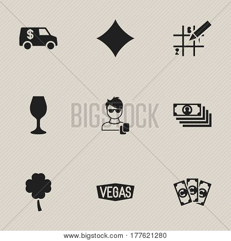 Set Of 9 Editable Business Icons. Includes Symbols Such As Currency Camion, Male Player, Moneys And More. Can Be Used For Web, Mobile, UI And Infographic Design.