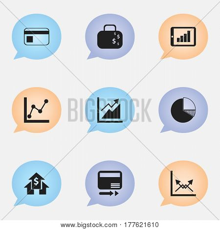 Set Of 9 Editable Analytics Icons. Includes Symbols Such As Schema, Cash Briefcase, Banking House And More. Can Be Used For Web, Mobile, UI And Infographic Design.