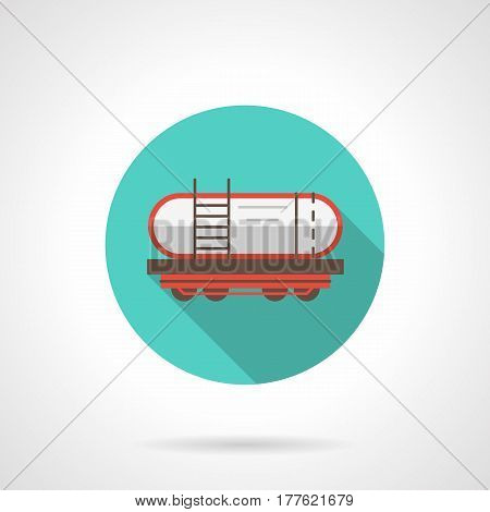 Symbol of railway tank or barrel for transportation of liquids, fuel, petroleum. Railroad transport. Round flat design blue vector icon, long shadow.