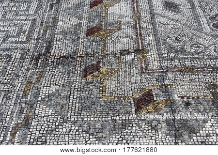 Geometric Mosaic, Roman Ruins Of The Ancient City Of Conimbriga, Beiras Region, Portugal
