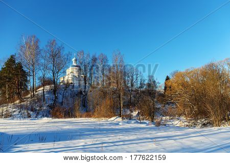 Church on a hill in the winter