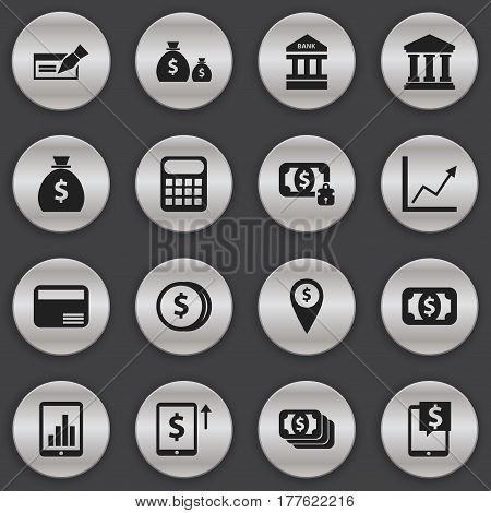 Set Of 16 Editable Banking Icons. Includes Symbols Such As Exchange Center, Specie, Banknote And More. Can Be Used For Web, Mobile, UI And Infographic Design.