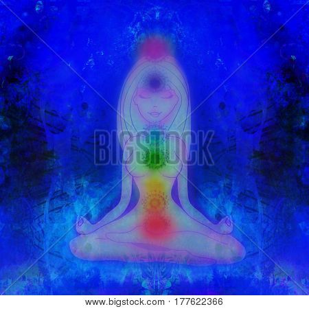 Human energy body aura chakras in meditation , raster
