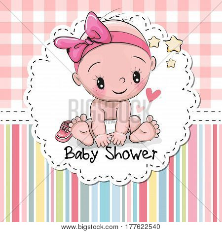 Baby shower greeting vector photo free trial bigstock baby shower greeting card with cute baby girl m4hsunfo