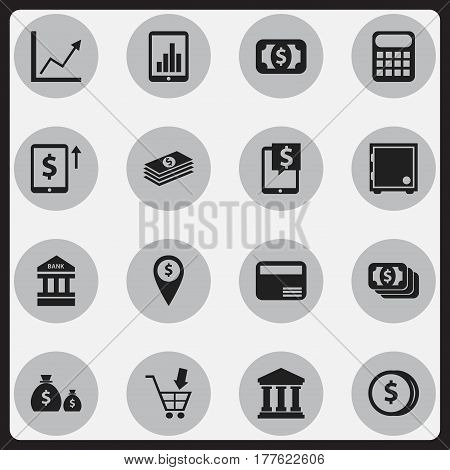 Set Of 16 Editable Investment Icons. Includes Symbols Such As Bucks, Currency, Exchange Center And More. Can Be Used For Web, Mobile, UI And Infographic Design.