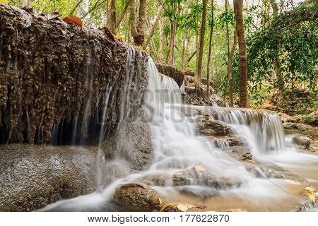 Waterfalls Huay Mae Kamin in dry season nature forestOf Thailand