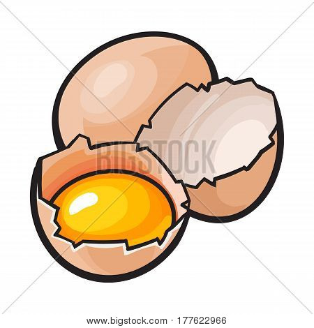 Whole and cracked, broken chicken egg with yolk inside, sketch style vector illustration isolated on white background. Hand drawn, sketched raw, uncooked chicken eggs, whole and broken