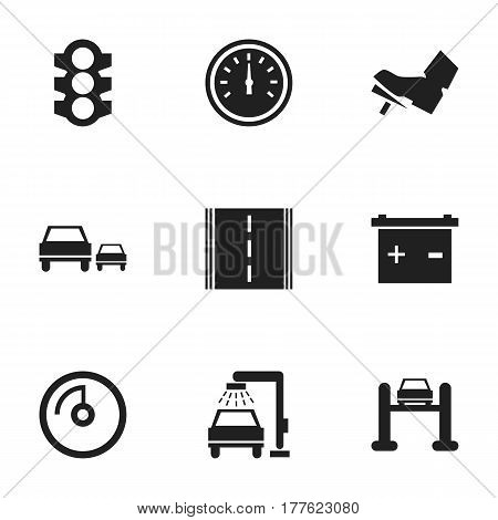 Set Of 9 Editable Transport Icons. Includes Symbols Such As Treadle, Highway, Race And More. Can Be Used For Web, Mobile, UI And Infographic Design.