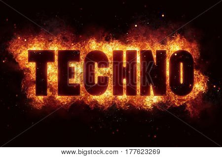techno music party text on fire flames explosion burning explode