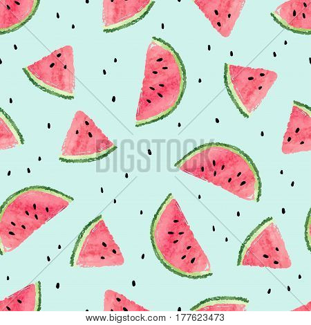 Seamless watermelon pattern. Vector summer background with watermelon slices.