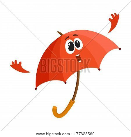 Cute and funny open red umbrella character with smiling human face giving thumb up, cartoon vector illustration isolated on white background. Open umbrella, parasol character, mascot, design element
