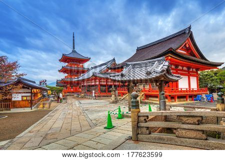 KYOTO, JAPAN - NOVEMBER 9, 2016: Kiyomizu-Dera Buddhist temple in Kyoto at dawn, Japan. Kiyomizu-dera built in 1633, is one of the most famous landmark of Kyoto with UNESCO World Heritage