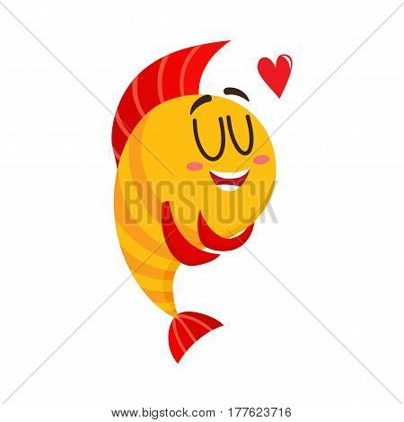 Cute, funny golden, yellow fish character with human face showing love, cartoon vector illustration isolated on white background. Yellow fish character, mascot hugging itself, happy from love