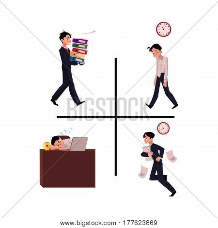 Businessman, manager having blue Monday, late to work, frustrated, sleeping at workplace, cartoon vector illustration isolated on white background. Businessman, employee set, difficult times
