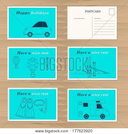 Travel cards design template. Happy holidays. Creative carair balloon skis diving camping bus tube mask fins icons. Vector illustration