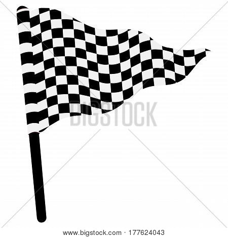 Waving triangular checkered flag auto championship check