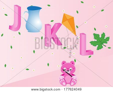Capital J K and L with jug kite and leaf Available in EPS 10 format.