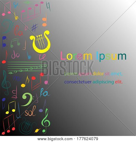 Colorful Hand Drawn Set of Music Symbols on Monochrome background. Doodle Treble Clef Bass Clef Notes and Lyre. Template for Fliers Banners Badges Stickers and Advertising Actions. Vector Illustration.
