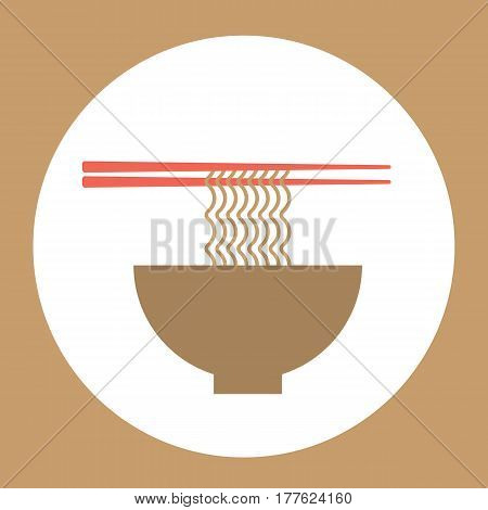 Noodles bowl with chopsticks Stylish banner for Food business industry Vector illustration