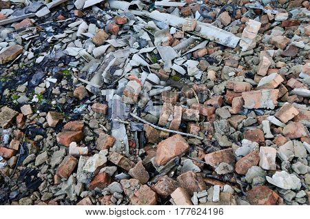 A lot of old broken bricks background texture