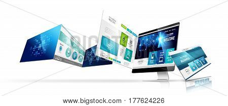 Modern device with web design template isolated. Vector illustration