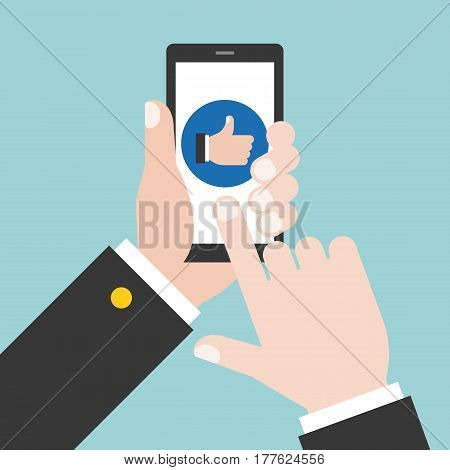 business hand give like on phone, flat design