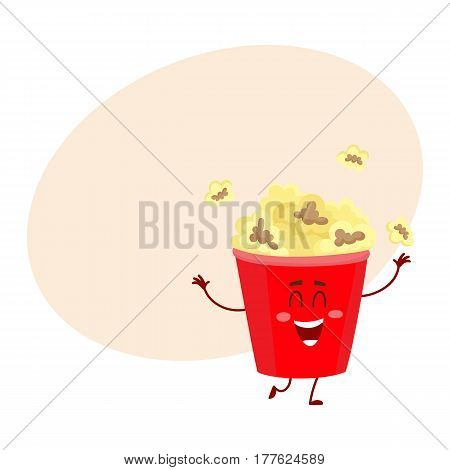 Cute and funny cinema popcorn in red bucket character with smiling human face, cartoon vector illustration with place for text. Smiling cinema popcorn bucket character, mascot