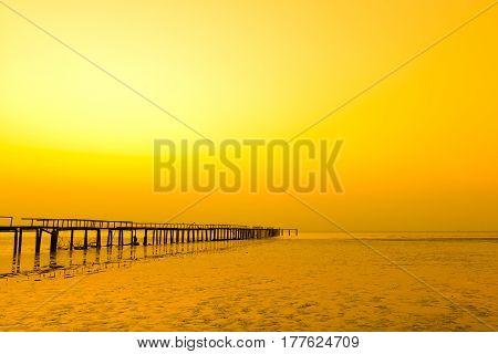 Beautiful sunset jetty scenic in Penang Malaysia