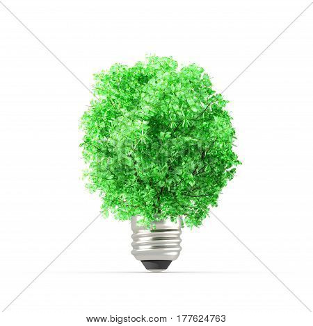 Concept of plant replacing the light bulb. Ecology metaphor. 3D Rendering