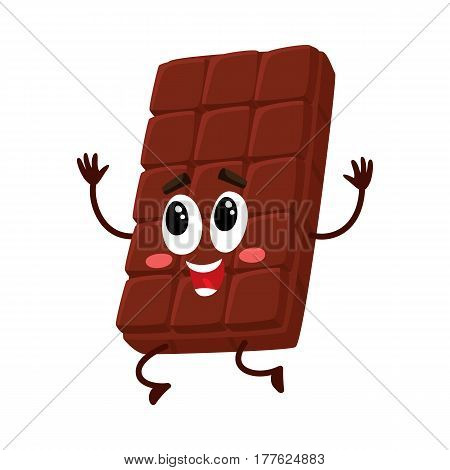 Cute chocolate bar character with funny face jumping from happiness and excitement, cartoon vector illustration isolated on white background. Happy, excited chocolate character, mascot, emoticon