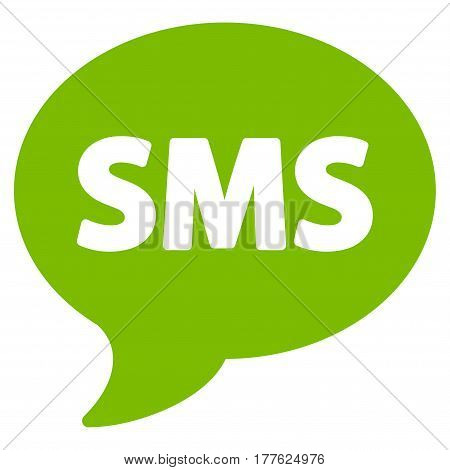 SMS vector icon. Flat eco green symbol. Pictogram is isolated on a white background. Designed for web and software interfaces.