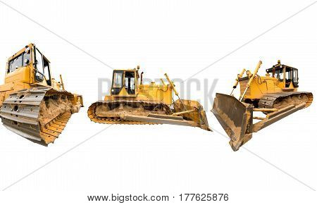 Composition with heavy dirty building bulldozers of yellow color isolated on white.