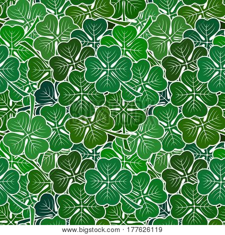 Seamless Background with Clover Leaves, Tile Pattern with Green Pictogram Plants. Vector