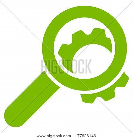 View Configuration Gear vector icon. Flat eco green symbol. Pictogram is isolated on a white background. Designed for web and software interfaces.