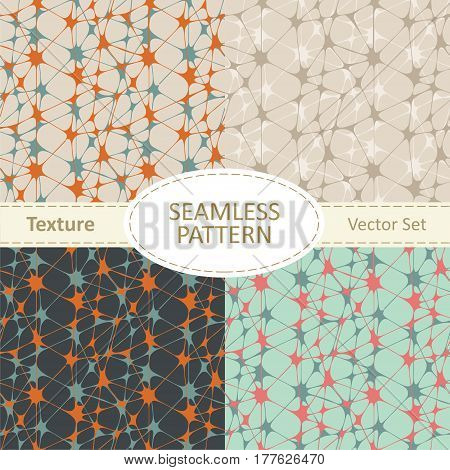 Set of four abstract geometric seamless patterns