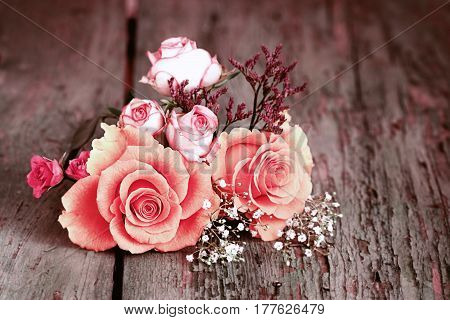 Still life with roses in shabby chic style for a greeting card