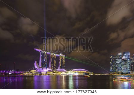 MARINA BAY SINGAPORE - FEBRUARY 14 2017: Landscape of the Marina Bay Sands laser show in Singapore.
