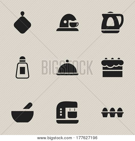 Set Of 9 Editable Food Icons. Includes Symbols Such As Soup, Salver, Cup And More. Can Be Used For Web, Mobile, UI And Infographic Design.