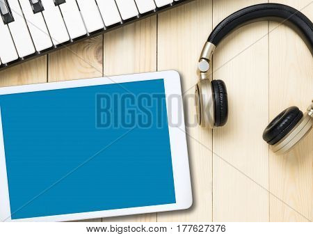 Blank tablet screen mock up for Music application