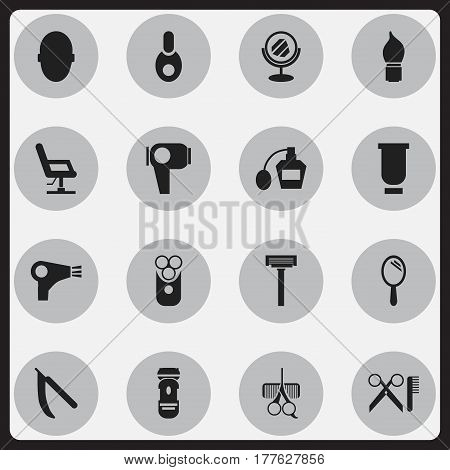 Set Of 16 Editable Barber Icons. Includes Symbols Such As Hairdresser Set, Container, Reflector And More. Can Be Used For Web, Mobile, UI And Infographic Design.