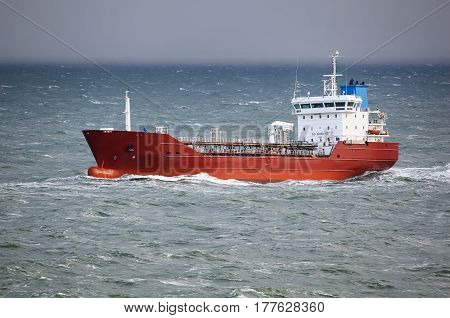 Ship in the sea on stormy day