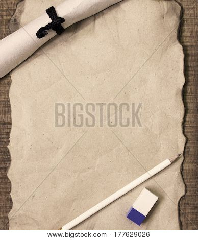 Notepaper and stationery office equipment on wooden backgroundConcept filter sepia.