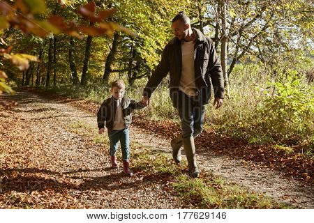 Father And Son On Autumn Walk In Woodland Together
